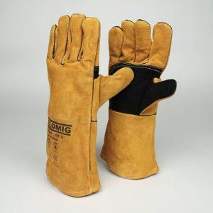Gold-Leather-Welders-Gauntlets-Gloves